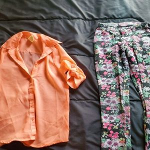 girl size 7 flower print jeggings and sheer top